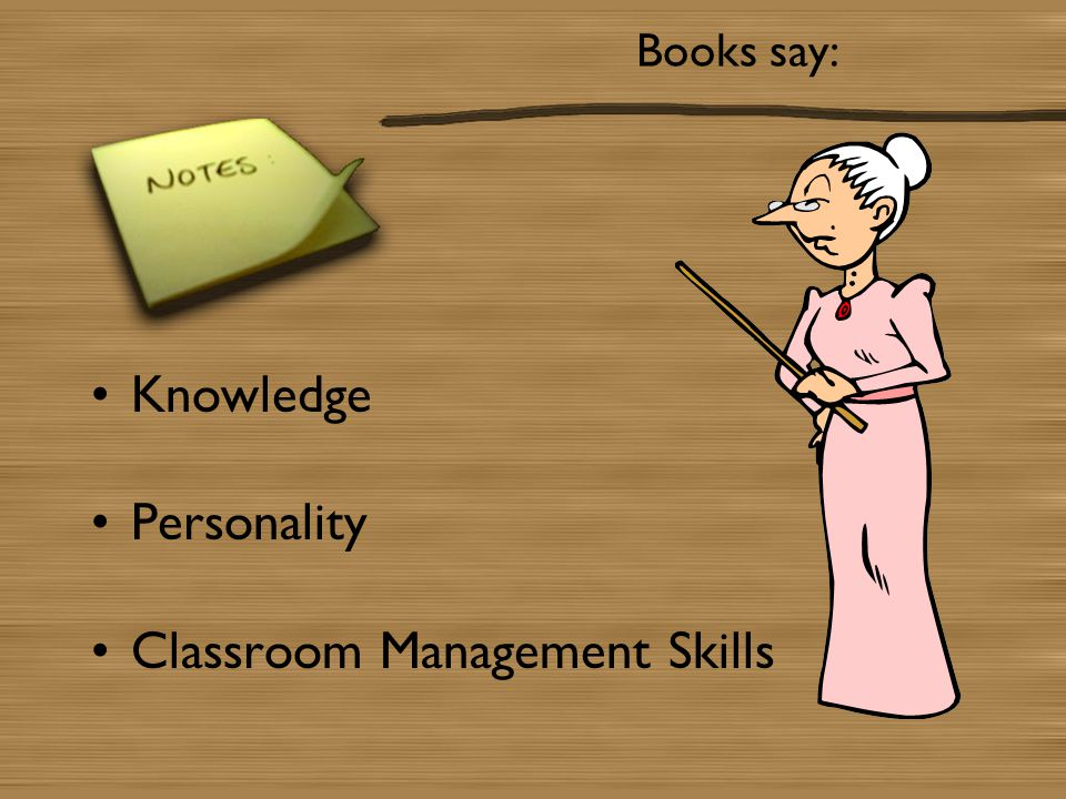 Books say: Knowledge Personality Classroom Management Skills