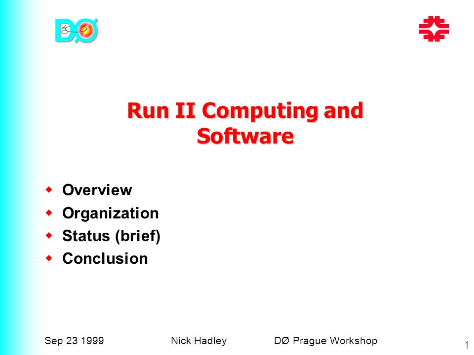 Sep 23 1999Nick Hadley DØ Prague Workshop 1  Overview  Organization  Status (brief)  Conclusion Run II Computing and Software