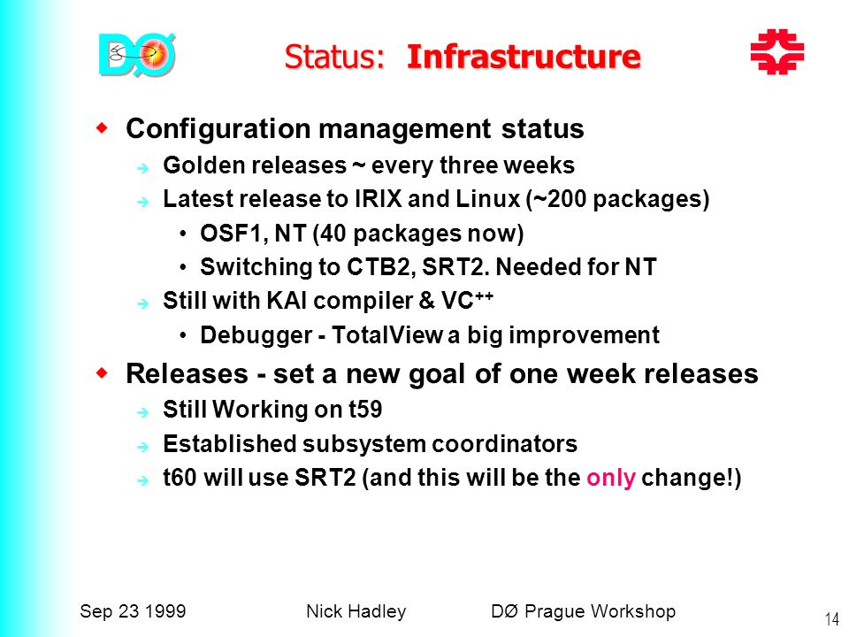 Sep 23 1999Nick Hadley DØ Prague Workshop 14 Status: Infrastructure  Configuration management status  Golden releases ~ every three weeks  Latest release to IRIX and Linux (~200 packages) OSF1, NT (40 packages now) Switching to CTB2, SRT2.