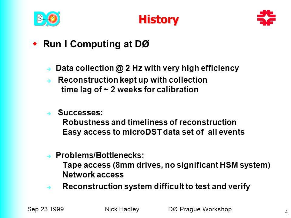 Sep 23 1999Nick Hadley DØ Prague Workshop 4 History  Run I Computing at DØ  Data collection @ 2 Hz with very high efficiency  Reconstruction kept u