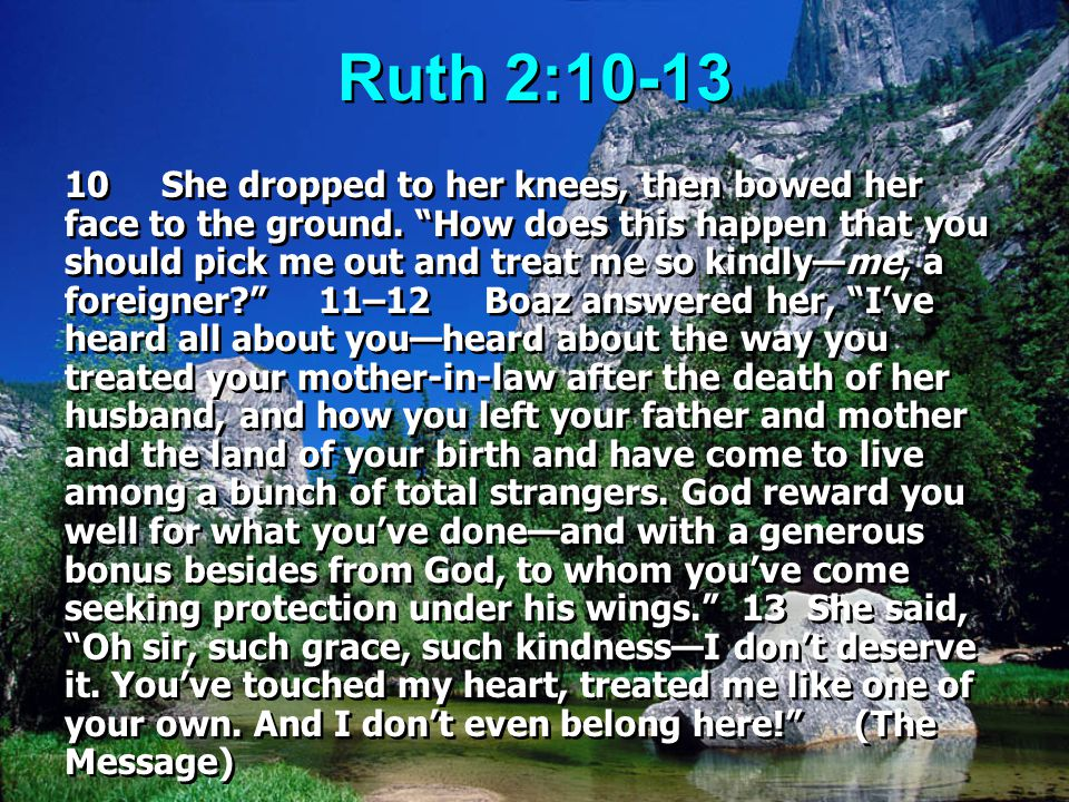 """Ruth 2:10-13 10 She dropped to her knees, then bowed her face to the ground. """"How does this happen that you should pick me out and treat me so kindly—"""