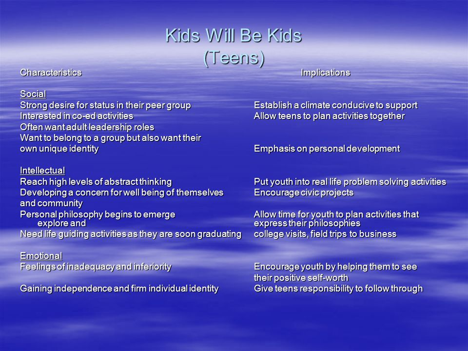 Kids Will Be Kids (Teens) CharacteristicsImplications Social Strong desire for status in their peer groupEstablish a climate conducive to support Interested in co-ed activitiesAllow teens to plan activities together Often want adult leadership roles Want to belong to a group but also want their own unique identityEmphasis on personal development Intellectual Reach high levels of abstract thinkingPut youth into real life problem solving activities Developing a concern for well being of themselves Encourage civic projects and community Personal philosophy begins to emergeAllow time for youth to plan activities that explore and express their philosophies Need life guiding activities as they are soon graduatingcollege visits, field trips to business Emotional Feelings of inadequacy and inferiorityEncourage youth by helping them to see their positive self-worth Gaining independence and firm individual identityGive teens responsibility to follow through