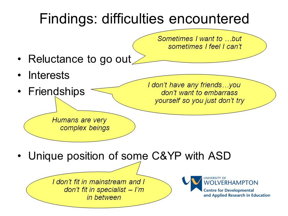 Findings: difficulties encountered Reluctance to go out Interests Friendships Unique position of some C&YP with ASD Sometimes I want to …but sometimes I feel I can't I don't have any friends…you don't want to embarrass yourself so you just don't try Humans are very complex beings I don't fit in mainstream and I don't fit in specialist – I'm in between