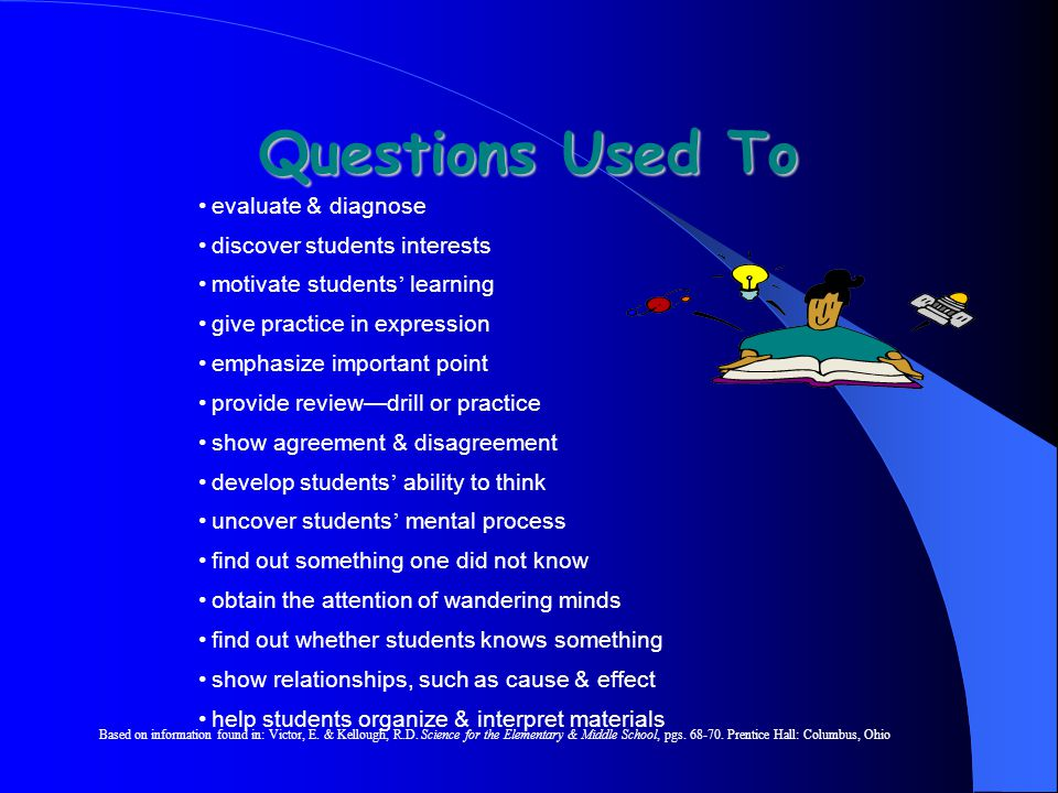 Questions Used To evaluate & diagnose discover students interests motivate students ' learning give practice in expression emphasize important point provide review—drill or practice show agreement & disagreement develop students ' ability to think uncover students ' mental process find out something one did not know obtain the attention of wandering minds find out whether students knows something show relationships, such as cause & effect help students organize & interpret materials Based on information found in: Victor, E.