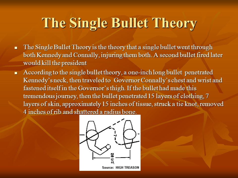 Conspiracy Theory Grassy Knoll Grassy Knoll Witnesses heard shot(s) Witnesses heard shot(s) Timing Timing Magic Bullet (single bullet) Magic Bullet (single bullet) Mafia Mafia CIA CIA Soviet Union/Cuba Soviet Union/Cuba Anti-Castro Anti-Castro FBI FBI Texas Oil Texas Oil