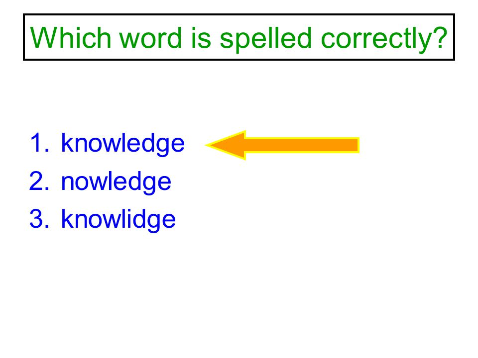 Which word is spelled correctly? 1.knowledge 2.nowledge 3.knowlidge
