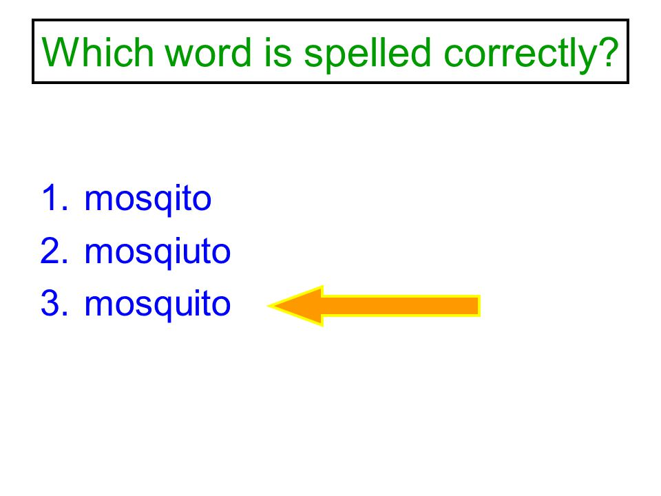 Which word is spelled correctly? 1.mosqito 2.mosqiuto 3.mosquito