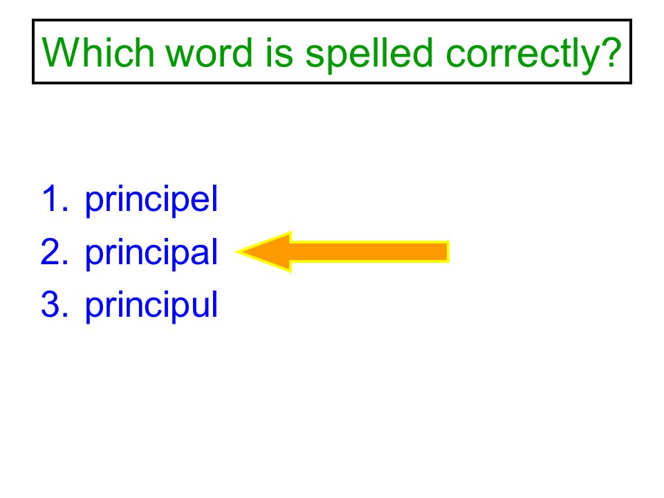 Which word is spelled correctly? 1.principel 2.principal 3.principul