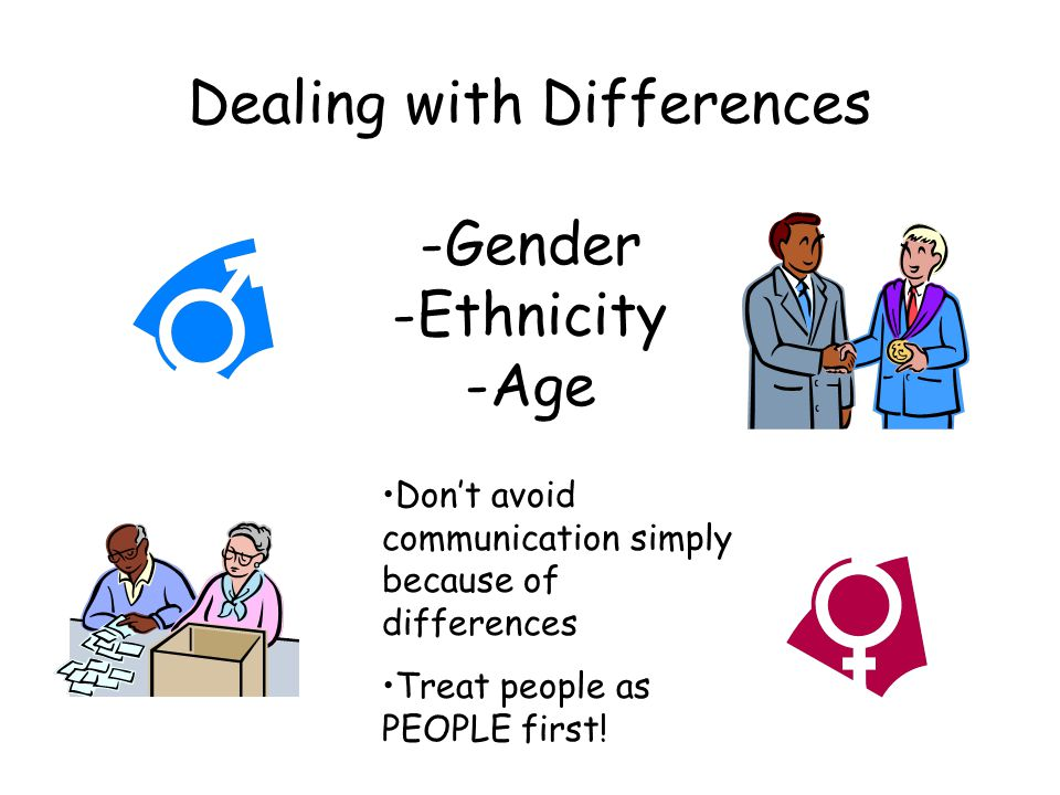 Dealing with Differences -Gender -Ethnicity -Age Don't avoid communication simply because of differences Treat people as PEOPLE first!