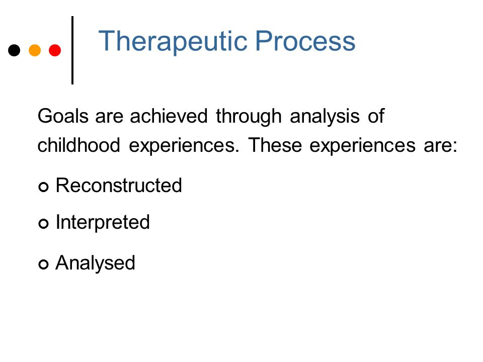 Analyst - Therapist Therapist-client relationship is key Neutrality (blank screen) and empathy Allows free expression of thoughts, images, feelings without distortion or censorship Attitude is non judgemental with 'benign curiosity' Encourages client to reflect upon significance and to make connections Transference is central to therapy