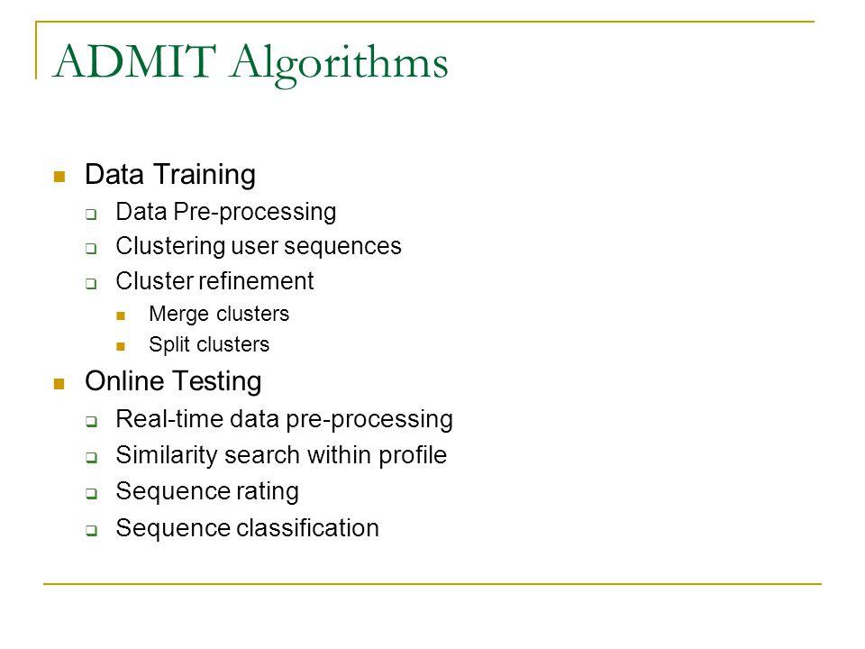 ADMIT Algorithms Data Training  Data Pre-processing  Clustering user sequences  Cluster refinement Merge clusters Split clusters Online Testing  R