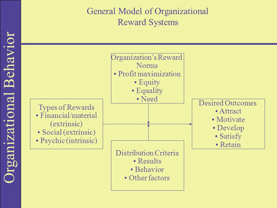 Organizational Behavior General Model of Organizational Reward Systems Organization's Reward Norms Profit maximization Equity Equality Need Distribution Criteria Results Behavior Other factors Types of Rewards Financial/material (extrinsic) Social (extrinsic) Psychic (intrinsic) Desired Outcomes Attract Motivate Develop Satisfy Retain