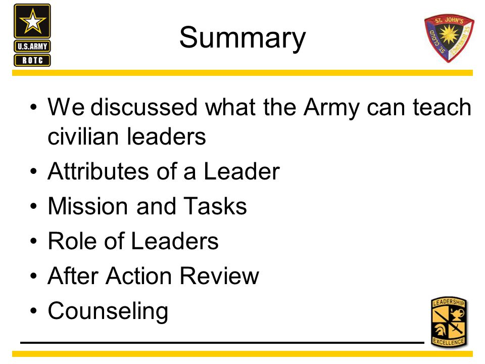 Summary We discussed what the Army can teach civilian leaders Attributes of a Leader Mission and Tasks Role of Leaders After Action Review Counseling