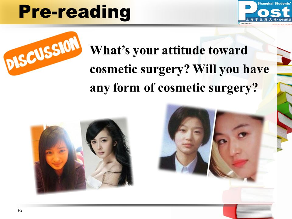 Pre-reading P2P2 What's your attitude toward cosmetic surgery.