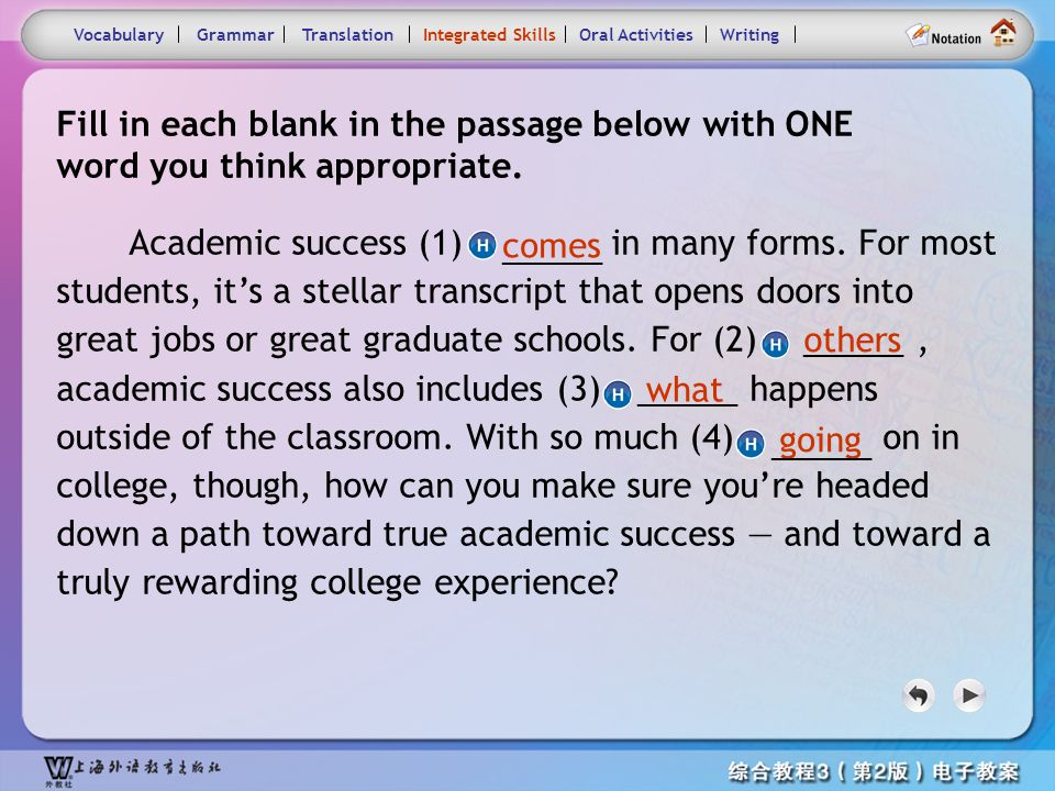 Consolidation Activities- Integrated skills2 VocabularyTranslationIntegrated SkillsOral ActivitiesWritingGrammar role at all, / wandering about from g