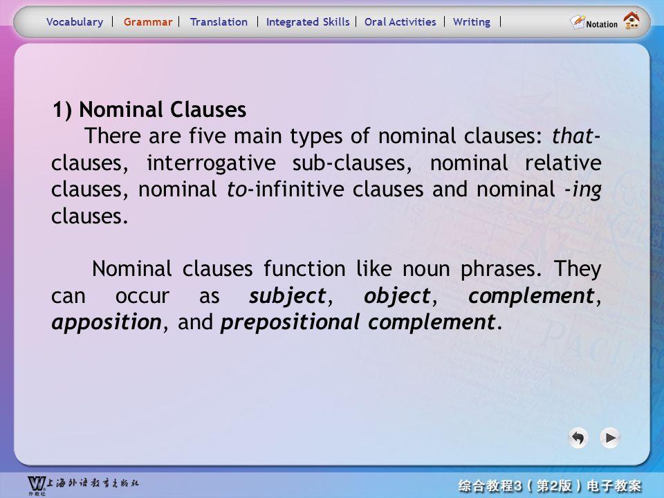 Consolidation Activities- Grammar main VocabularyGrammarTranslationIntegrated SkillsOral ActivitiesWriting Nominal Clauses so that Adverbial Clauses o