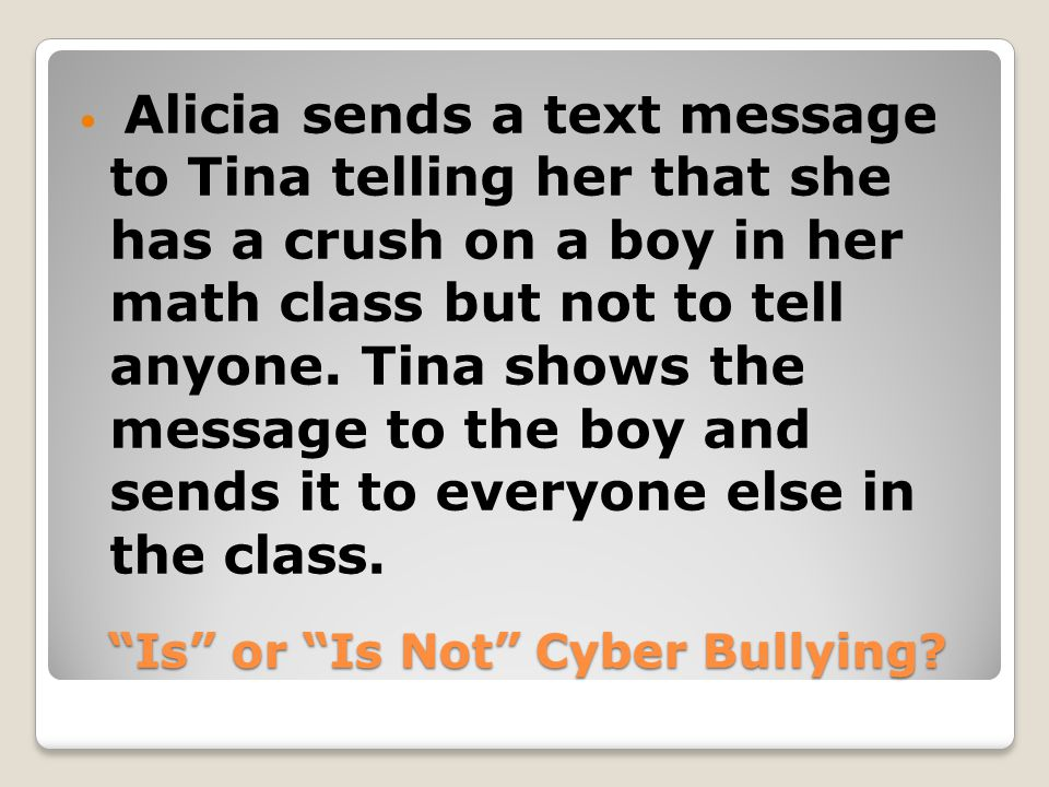 Is or Is Not Cyber Bullying.