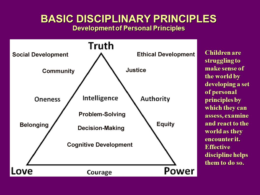 BASIC DISCIPLINARY PRINCIPLES Development of Personal Principles Children are struggling to make sense of the world by developing a set of personal principles by which they can assess, examine and react to the world as they encounter it.