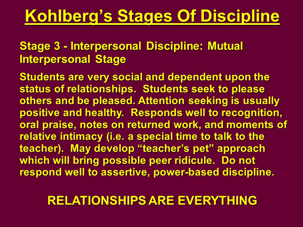 Kohlberg's Stages Of Discipline Stage 3 - Interpersonal Discipline: Mutual Interpersonal Stage Students are very social and dependent upon the status of relationships.