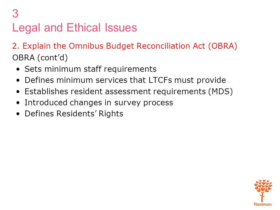 3 Legal and Ethical Issues 2. Explain the Omnibus Budget Reconciliation Act (OBRA) OBRA (cont'd) Sets minimum staff requirements Defines minimum servi