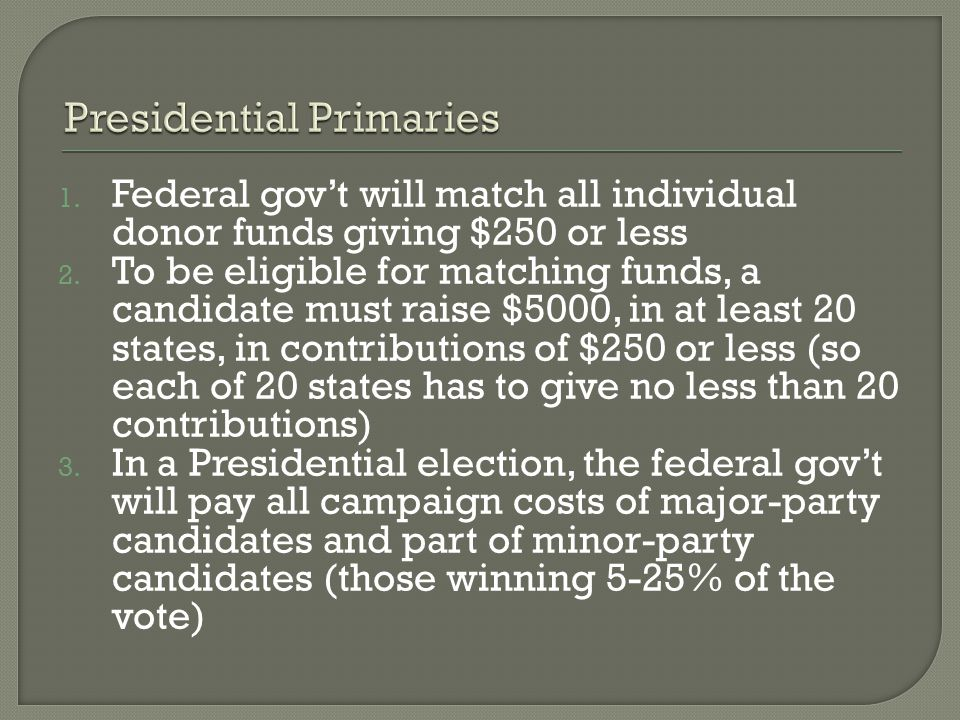 1. Federal gov't will match all individual donor funds giving $250 or less 2.