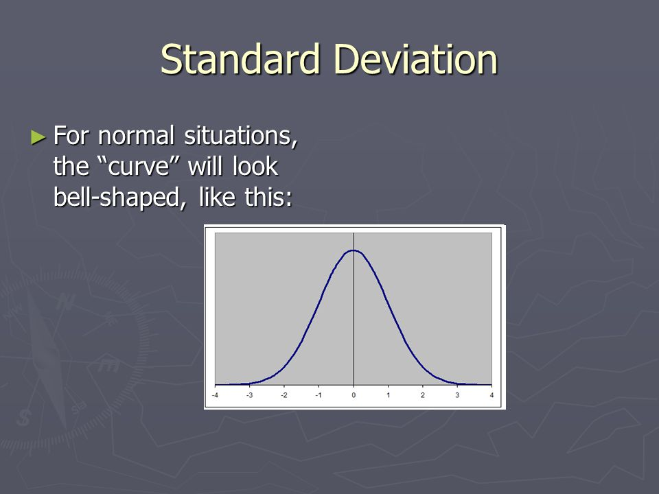 Standard Deviation ► For normal situations, the curve will look bell-shaped, like this: