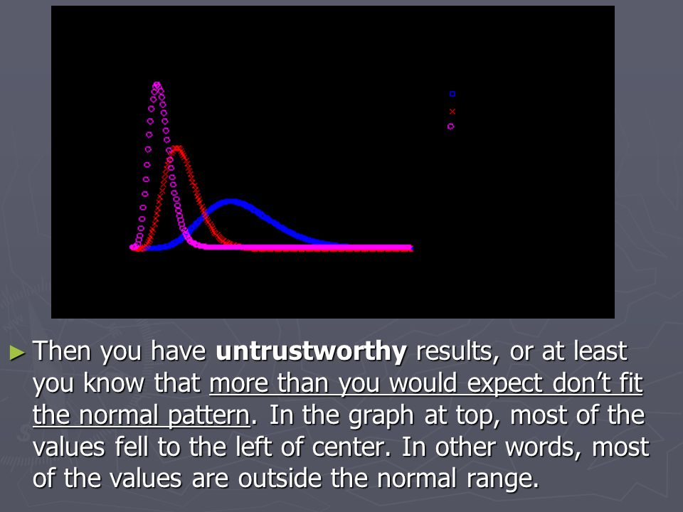 ► Then you have untrustworthy results, or at least you know that more than you would expect don't fit the normal pattern. In the graph at top, most of