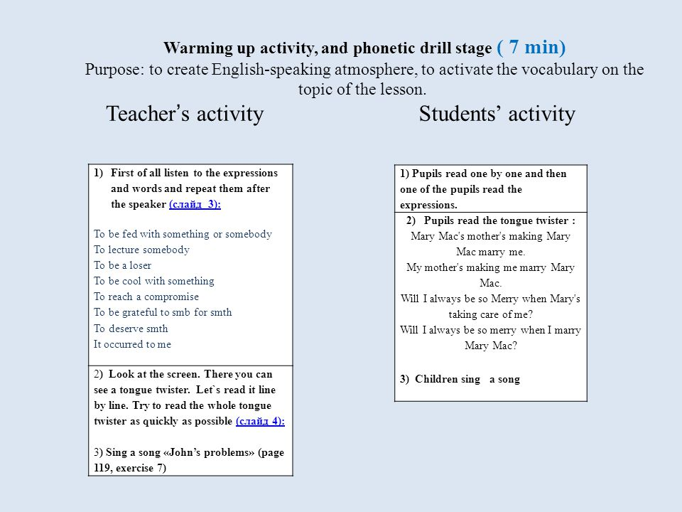Warming up activity, and phonetic drill stage ( 7 min) Purpose: to create English-speaking atmosphere, to activate the vocabulary on the topic of the