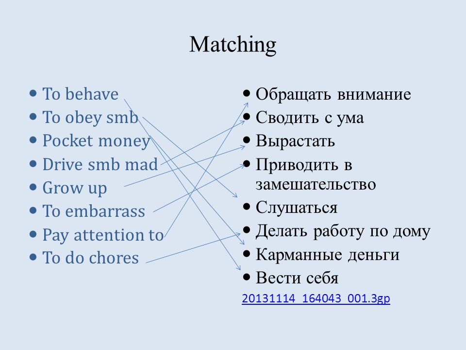 Matching To behave To obey smb Pocket money Drive smb mad Grow up To embarrass Pay attention to To do chores Обращать внимание Сводить с ума Вырастать