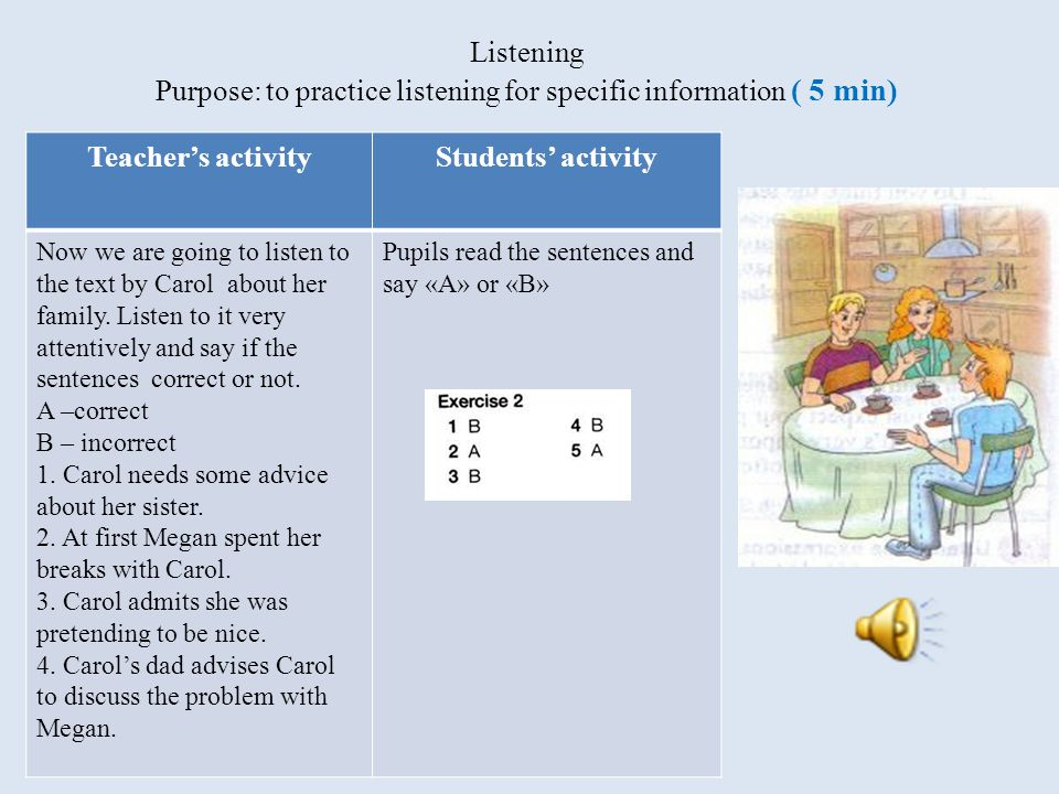 Listening Purpose: to practice listening for specific information ( 5 min) Teacher's activityStudents' activity Now we are going to listen to the text by Carol about her family.