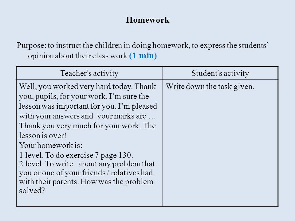 Homework Purpose: to instruct the children in doing homework, to express the students' opinion about their class work (1 min) Teacher ' s activityStud