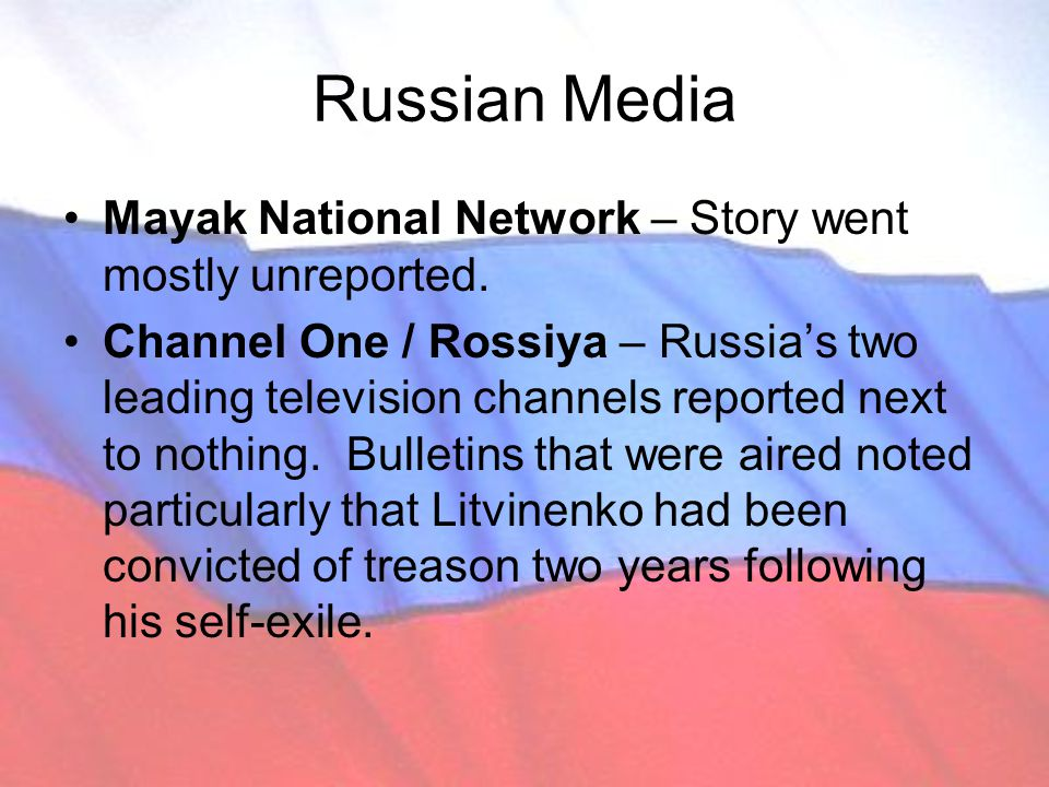 Russian Media Mayak National Network – Story went mostly unreported.
