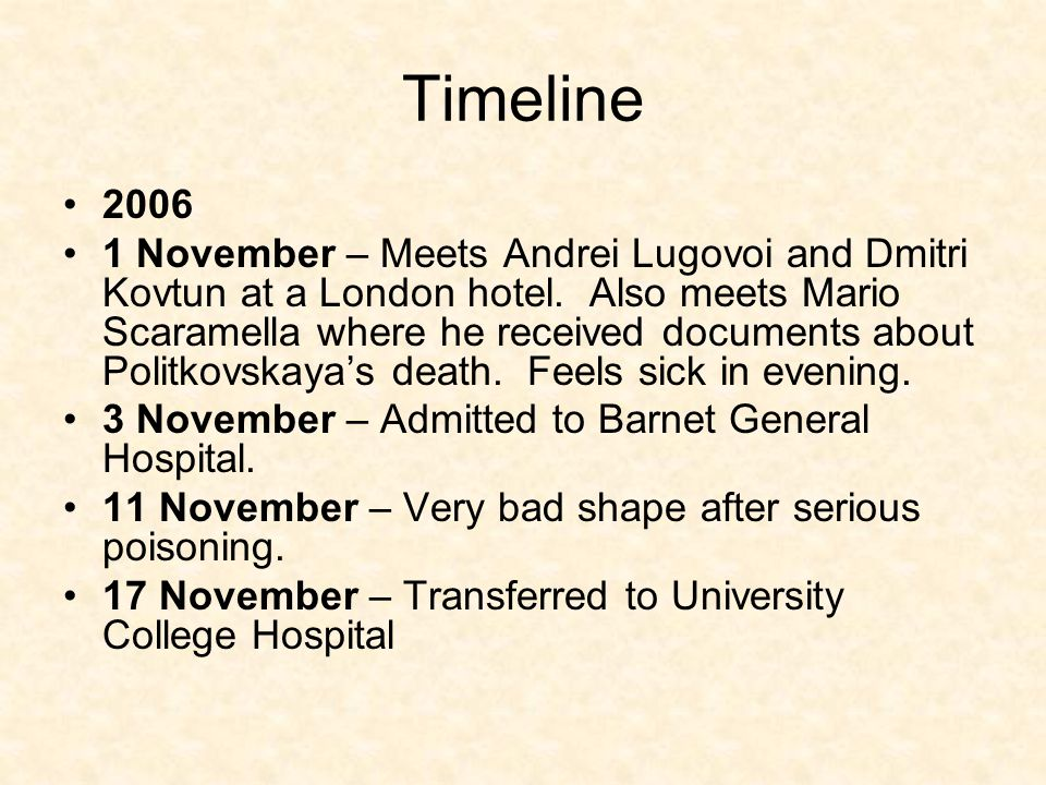Timeline 2006 1 November – Meets Andrei Lugovoi and Dmitri Kovtun at a London hotel.