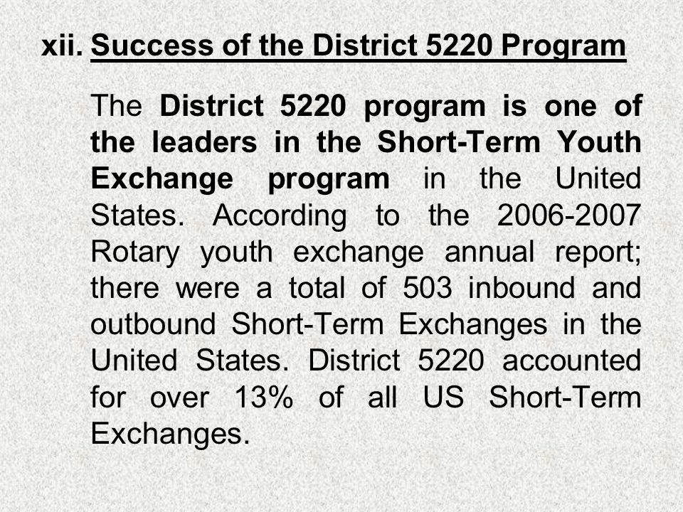 xii.Success of the District 5220 Program The District 5220 program is one of the leaders in the Short-Term Youth Exchange program in the United States.