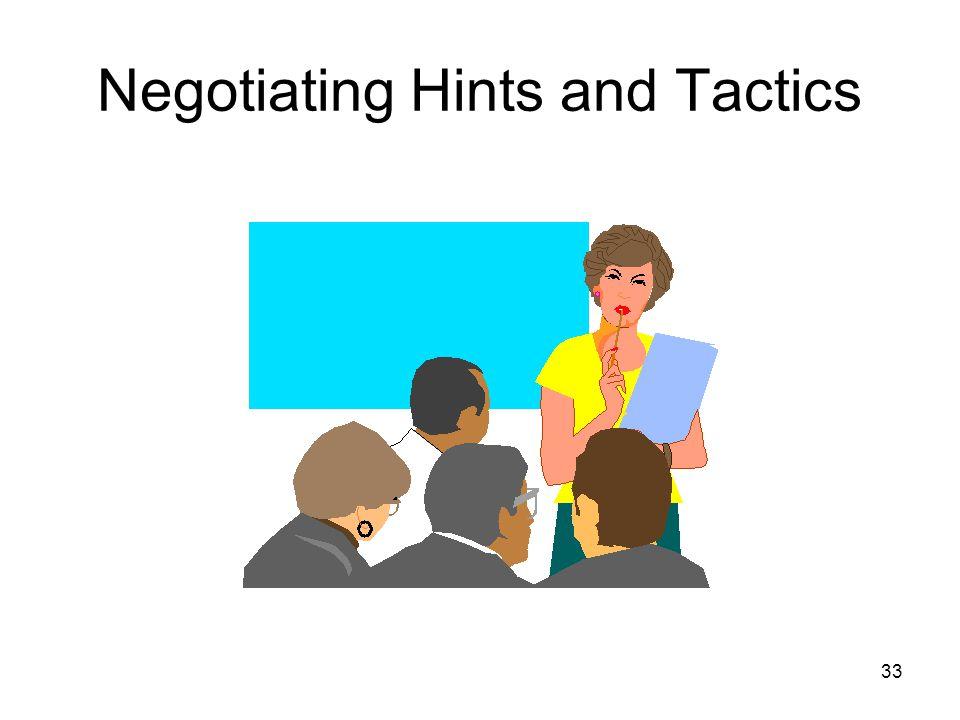 33 Negotiating Hints and Tactics