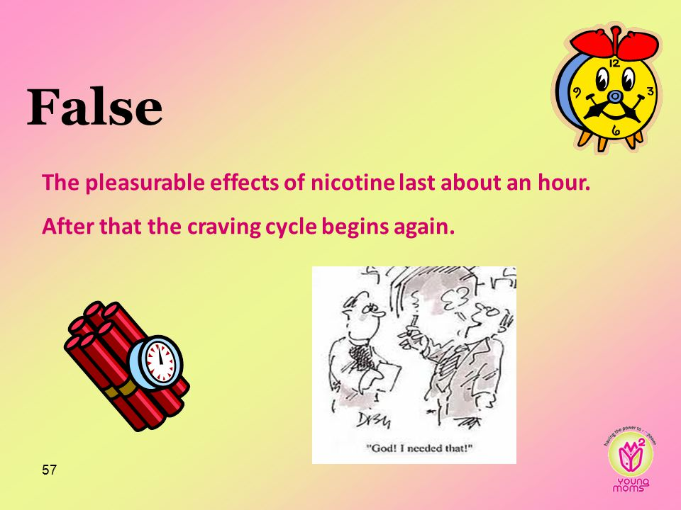 False The pleasurable effects of nicotine last about an hour.