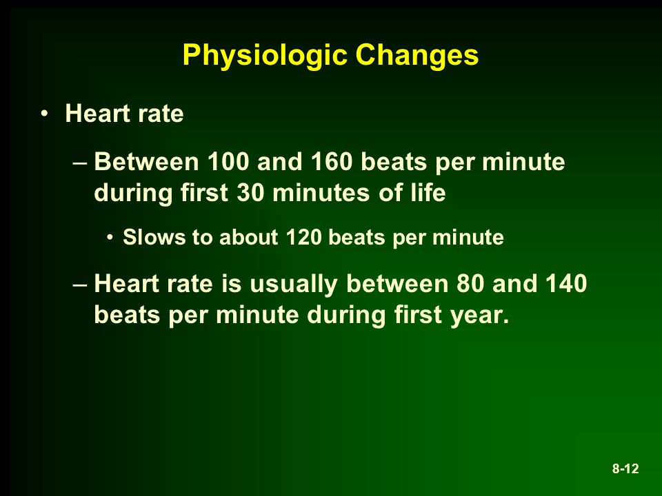 Physiologic Changes Heart rate –Between 100 and 160 beats per minute during first 30 minutes of life Slows to about 120 beats per minute –Heart rate is usually between 80 and 140 beats per minute during first year.