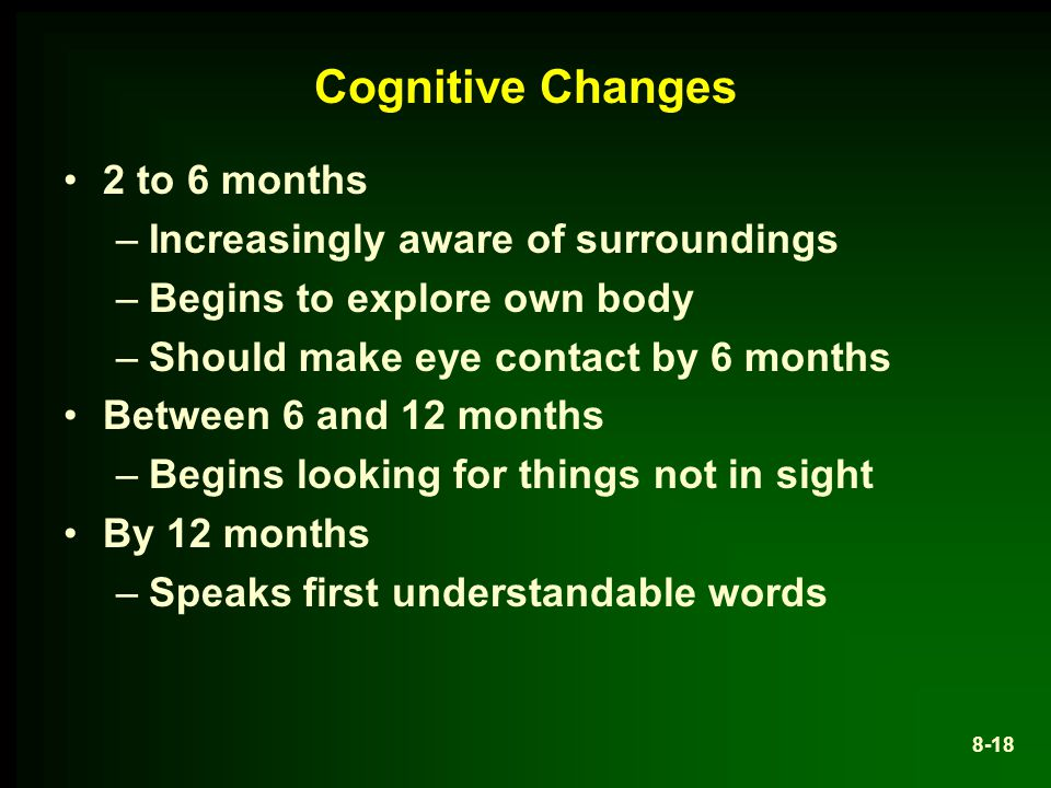Cognitive Changes 2 to 6 months –Increasingly aware of surroundings –Begins to explore own body –Should make eye contact by 6 months Between 6 and 12 months –Begins looking for things not in sight By 12 months –Speaks first understandable words 8-18