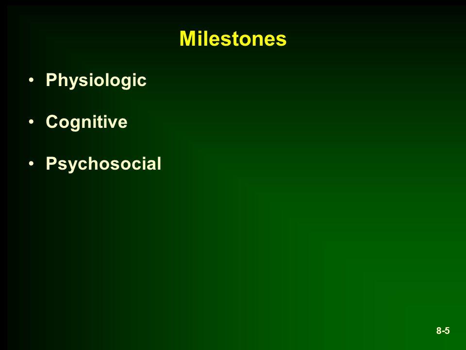 Milestones Physiologic Cognitive Psychosocial 8-5