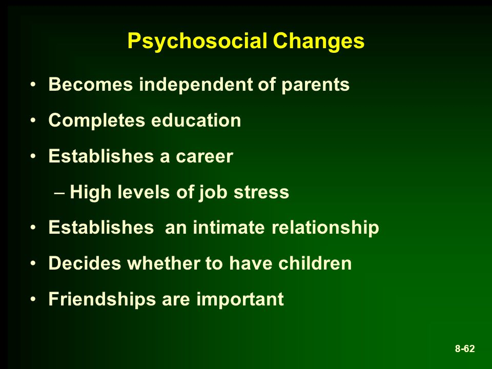Psychosocial Changes Becomes independent of parents Completes education Establishes a career –High levels of job stress Establishes an intimate relationship Decides whether to have children Friendships are important 8-62
