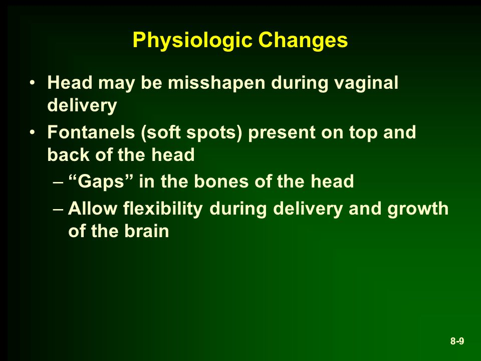 Physiologic Changes Head may be misshapen during vaginal delivery Fontanels (soft spots) present on top and back of the head – Gaps in the bones of the head –Allow flexibility during delivery and growth of the brain 8-9