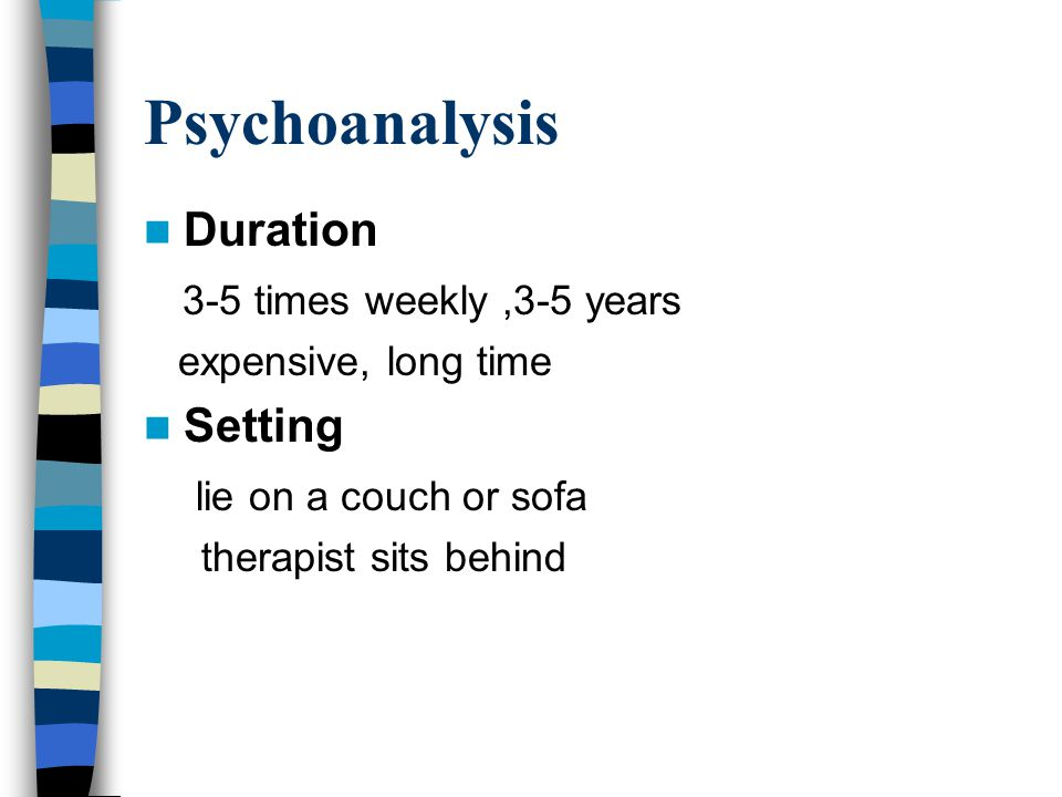 Psychoanalysis Duration 3-5 times weekly,3-5 years expensive, long time Setting lie on a couch or sofa therapist sits behind
