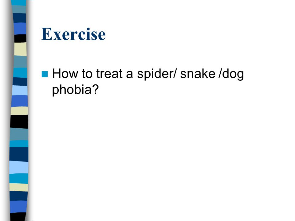 Exercise How to treat a spider/ snake /dog phobia?