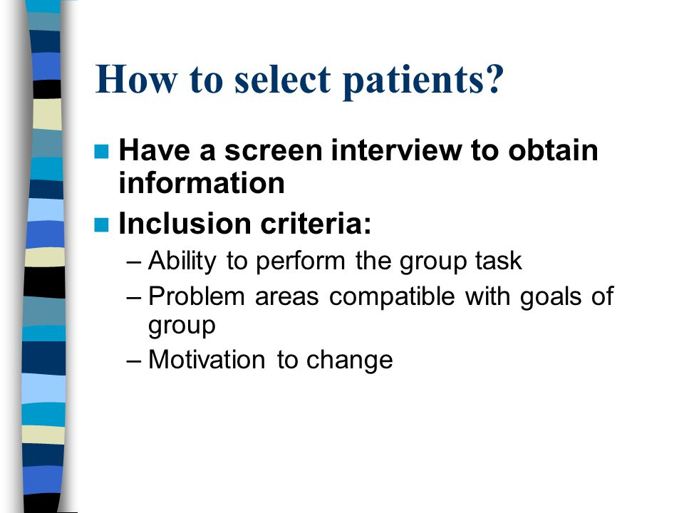 How to select patients.