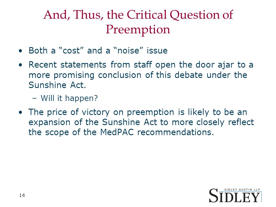 """14 And, Thus, the Critical Question of Preemption Both a """"cost"""" and a """"noise"""" issue Recent statements from staff open the door ajar to a more promisin"""