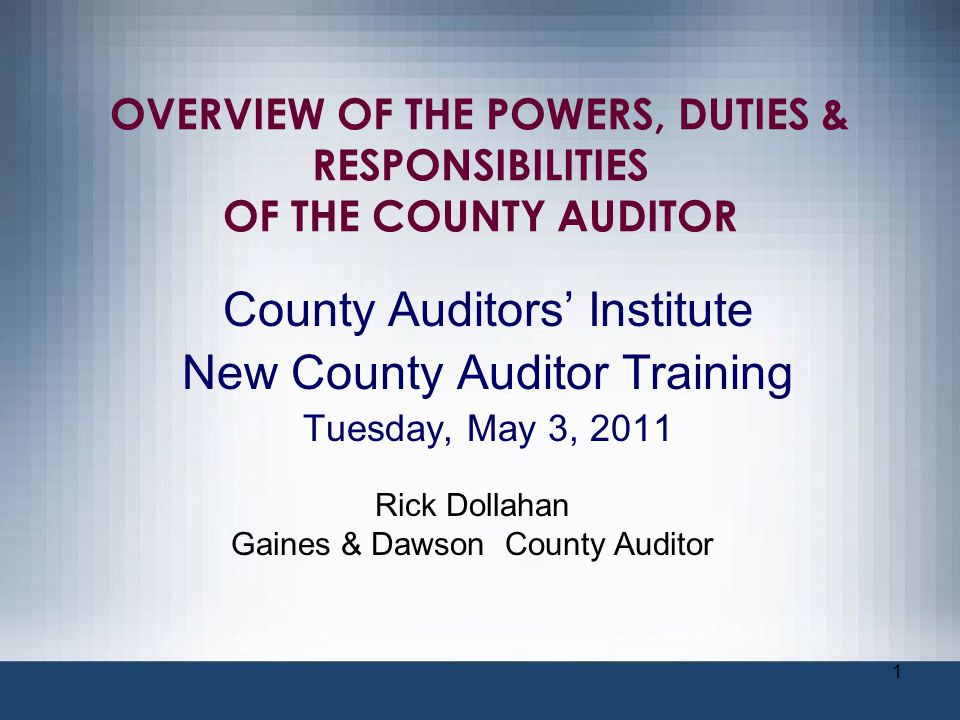 42 OVERSIGHT AUTHORITY According to the Texas Local Government Code (LGC) the county auditor has general oversight of county books and records.
