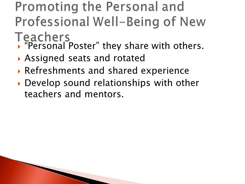 " ""Personal Poster"" they share with others.  Assigned seats and rotated  Refreshments and shared experience  Develop sound relationships with other"