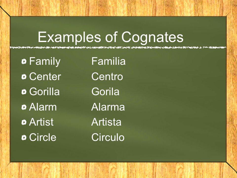 Examples of Cognates FamilyFamilia CenterCentro GorillaGorila AlarmAlarma ArtistArtista CircleCirculo
