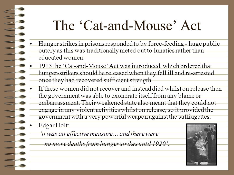 The 'Cat-and-Mouse' Act Hunger strikes in prisons responded to by force-feeding - huge public outcry as this was traditionally meted out to lunatics rather than educated women.