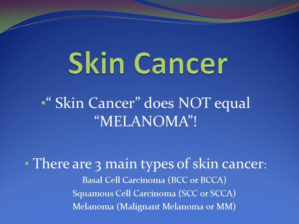 Skin Cancer does NOT equal MELANOMA .